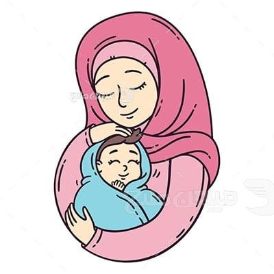 وکتور کاراکتر حجاب مادر