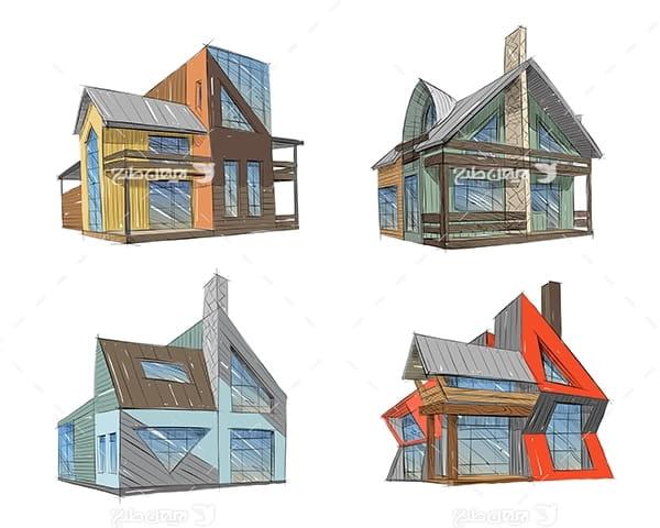 طرح گرافیکی وکتور سه بعدی خانه