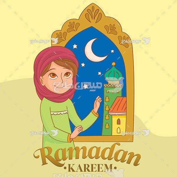 وکتور کاراکتر زن و دعا در رمضان