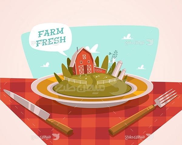 وکتور مزرعه کشاورزی