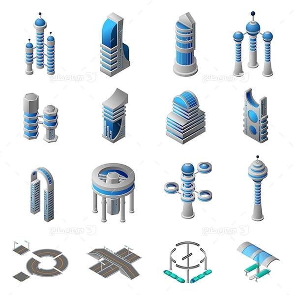 طرح گرافیکی وکتور سه بعدی ساختمان و جاده