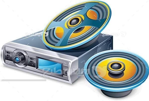 وکتور دستگاه پخش صدا و تصویر