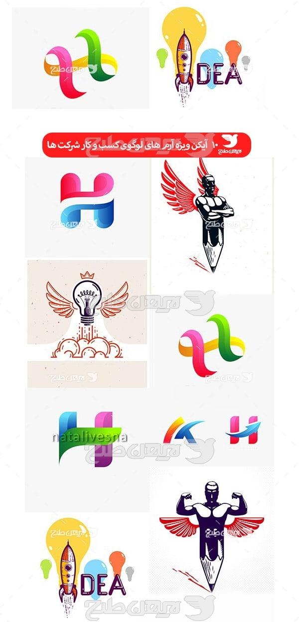 مجموعه آیکن ویژه آرم های لوگوی کسب و کار شرکت ها