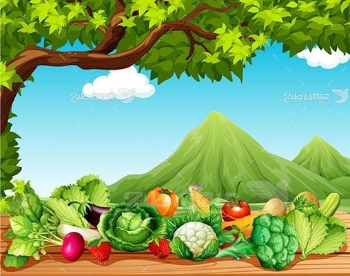 وکتور کاراکتر سبزیجات در طبیعت