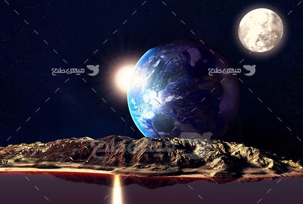 عکس فضاعکس سیاره مریخ و زمین و ماه