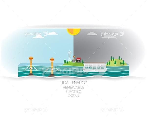 وکتور جزیره و دریا و تولید انرژی طبیعی