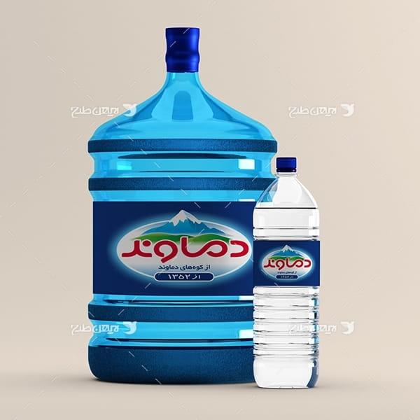 طرح موکاپ جاگذاری لیبل بروی آب معدنی