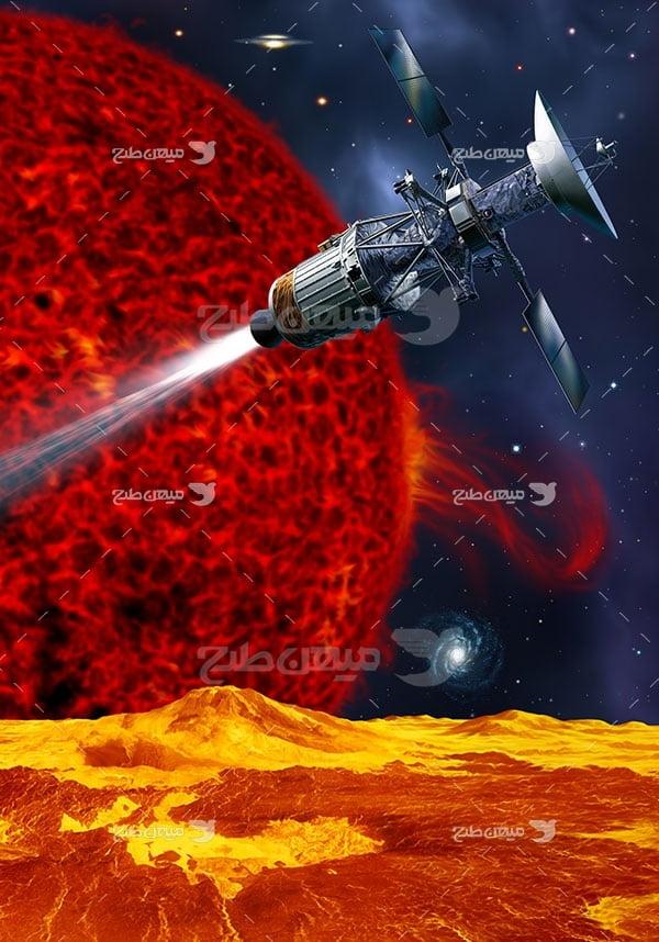 عکس فضاپیما و خورشید