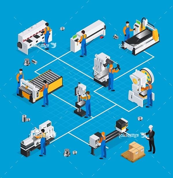 طرح وکتور سه بعدی کارگران هنگام کار در کارخانه صنعتی