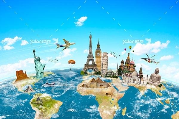 تصویر مسافرت و گردشگری و مکان های گردشگری بر روی نقشه کره زمین