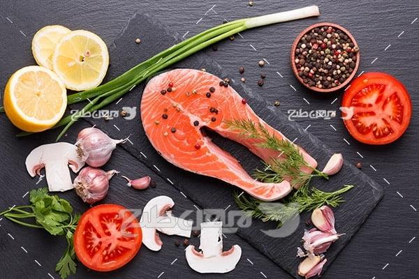 ماهی،گوشت ماهی,غذای ماهی سبزیجات لیمو قارچ