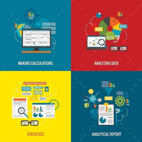 طرح وکتور گرافیکی تجزیه و تحلیل و آنالیز