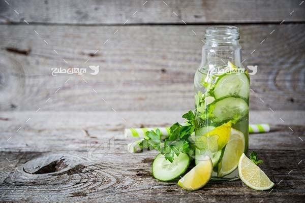 عکس میوه لیمو و خیار سبز