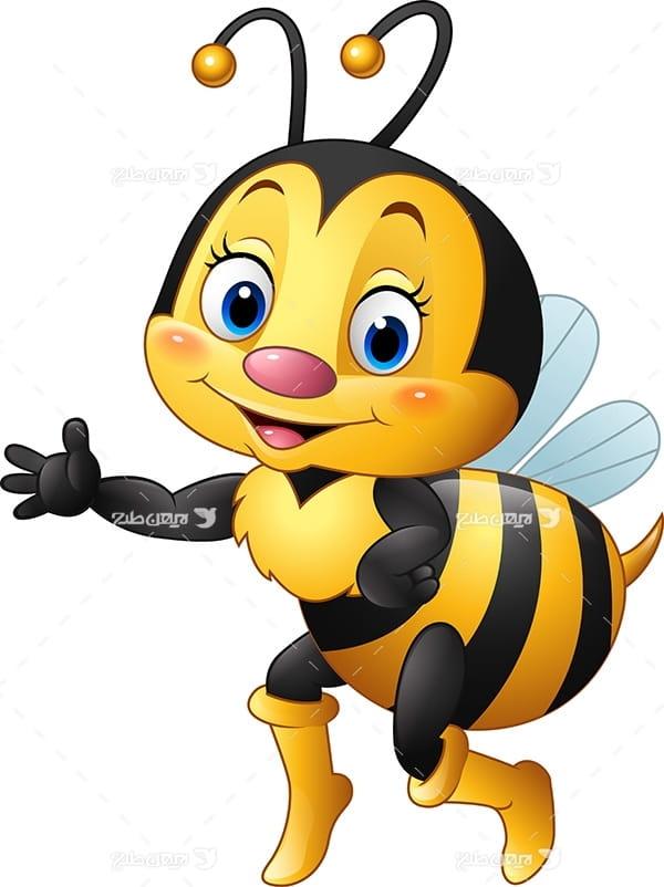 طرح گرافیکی وکتور با موضوع زنبورعسل