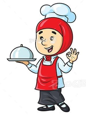 وکتور کاراکتر حجاب سرآشپز زن