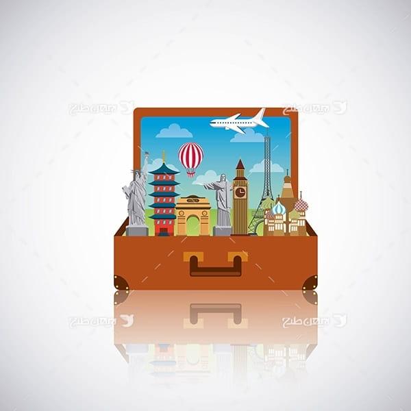 طرح وکتور گرافیکی با موضوع مسافرت و مکان های گردشگری