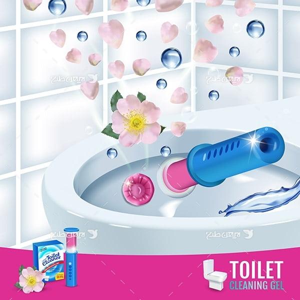 طرح وکتور گرافیکی مایع تمیز کننده توالت و دستشویی