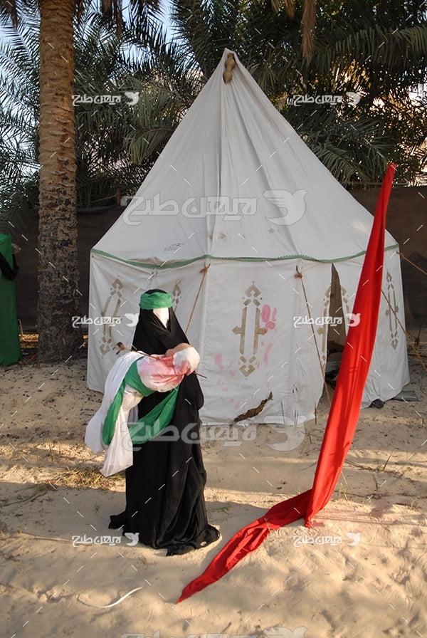 عکس حضرت زینب و خیمه تعزیه