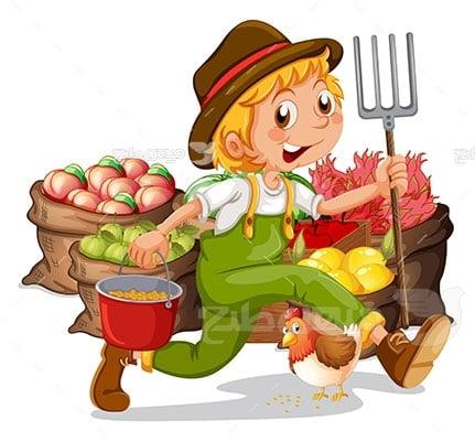 وکتور کاراکتر کشاورز سبزیجات و میوه