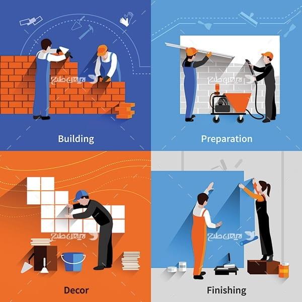 طرح وکتور ساختمان سازی
