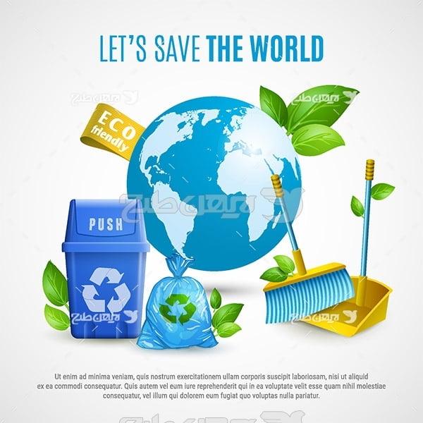 وکتور محیط زیست و بازیافت