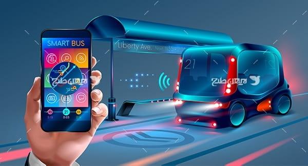 طرح وکتور گرافیکی با موضوع خودرو و موبایل هوشمند