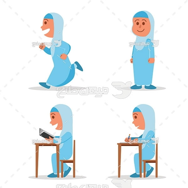 وکتور کاراکتر دانش آموز دختر با حجاب