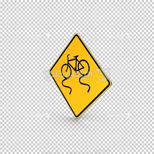 تصویر دور بری سه بعدی تابلو هشدار دهنده دوچرخه سوار
