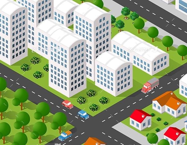 طرح گرافیکی وکتور سه بعدی شهر و ساختمان ، ماشین و درخت