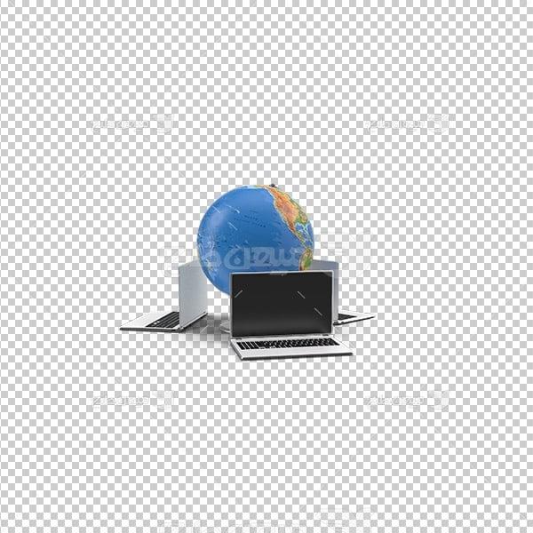 عکس برش خورده سه بعدی کره زمین و لپ تاپ