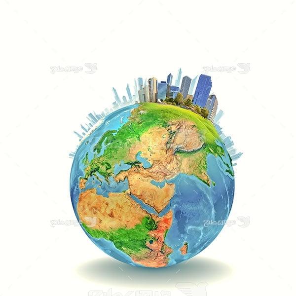 عکس کره زمین و ساختمان