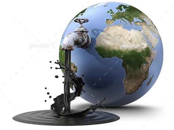 تصویر صنعتی از کره زمین و شیر نفت