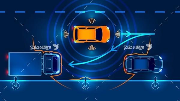 طرح وکتور گرافیکی با موضوع پارک دوبل خودروهای هوشمند