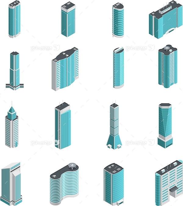 طرح گرافیکی وکتور سه بعدی ساختمان های آسمان خراش و بلند