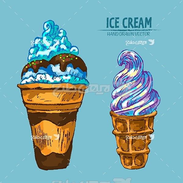 وکتور گرافیکی بستنی قیفی