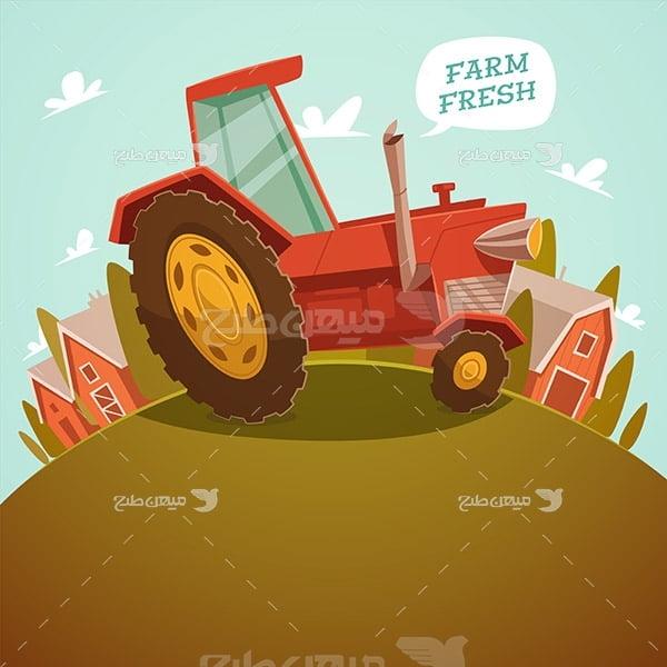 وکتور مزرعه کشاورزی و تراکتور