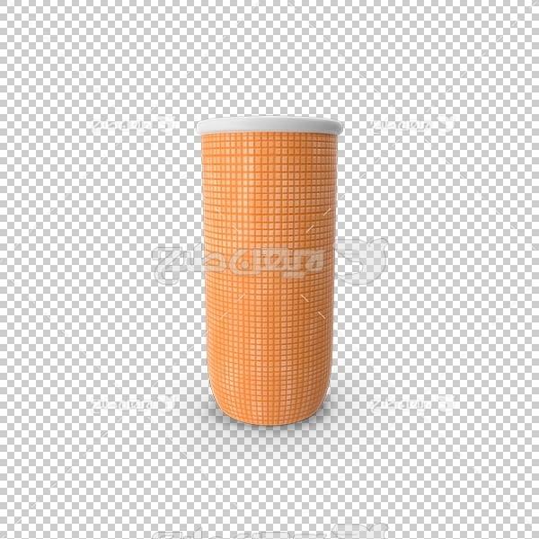 تصویر سه بعدی دوربری لیوان آب پرتقال