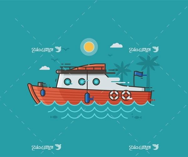 وکتور گرافیکی دریا ، کشتی و خورشید