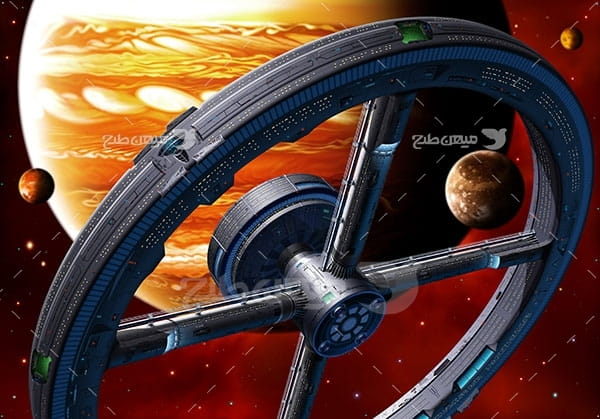 عکس ایستگاه فضای و سیاره مشتری