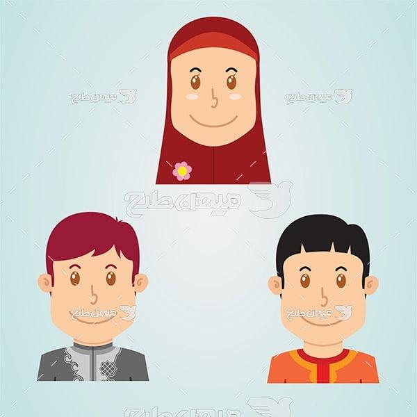 وکتور کاراکتر انسان مرد و زن