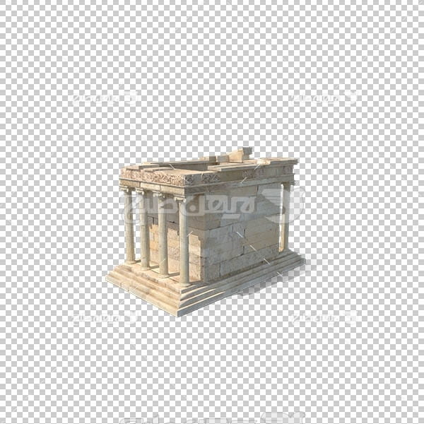 تصویر سه بعدی دوربری بنای سنگی قدیمی