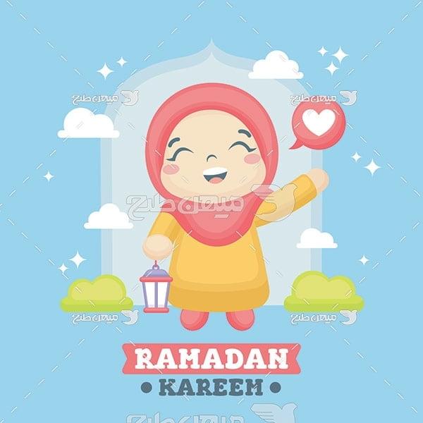 وکتور کاراکتر دختر با حجاب و ماه رمضان