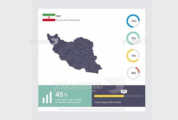 وکتور اینفوگرافیک نقشه ایران
