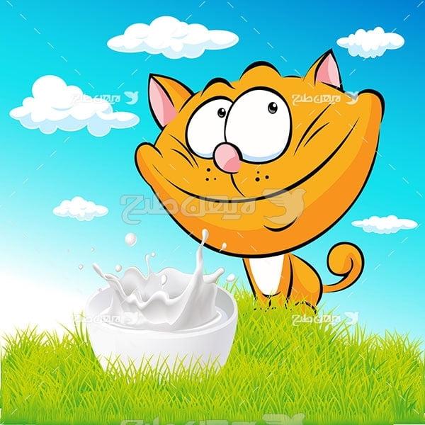 وکتور گربه و شیر