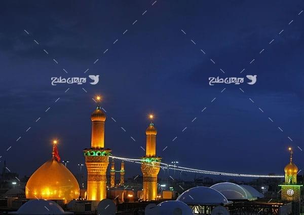 تصویر با کیفیت از گنبد امام حسین علیه السلام در شب