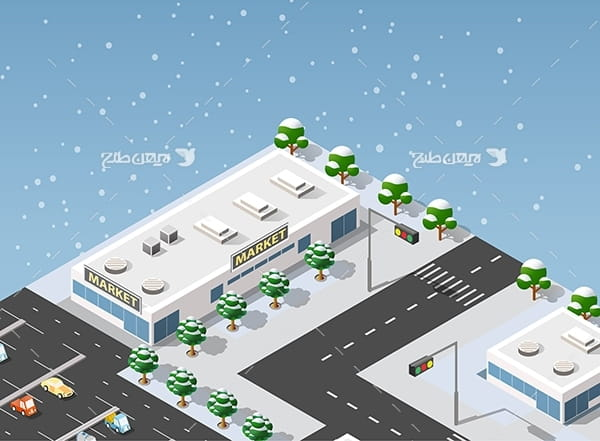 طرح گرافیکی وکتور سه بعدی شهر و ساختمان ، ماشین و چراغ قرمز