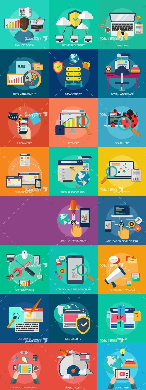 طرح وکتور فلت با موضوع برنامه نویسی وب