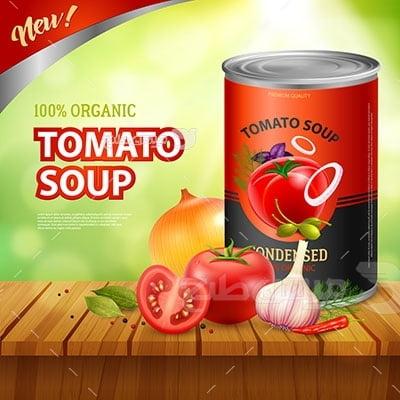 وکتور کاراکتر کنسرو سوپ گوجه فرنگی
