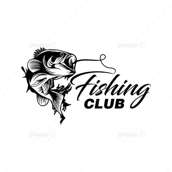 طرح لوگو سیاه وسفید ماهی