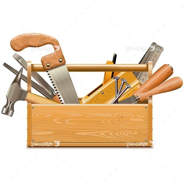 طرح وکتور صنعتی جعبه ابزار آلات